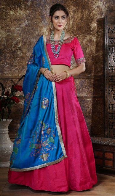 Lehenga Choli Silk Fabric in Pink Color Shaded