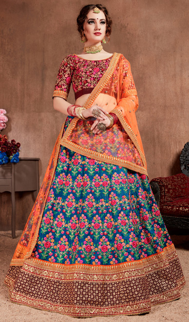 Navy Blue Color Embroidered Silk Lehenga Choli