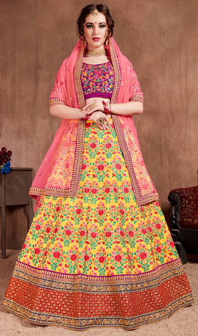 Yellow Color Silk Embroidered Indian Choli Skirt