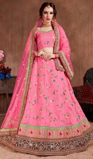 Pink Color Shaded Embroidered Silk Lahenga Choli