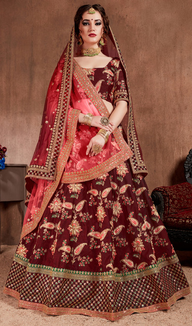 Silk Maroon Color Embroidered Lahenga Cholie