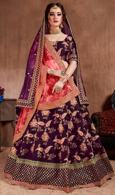 Choli Skirt, Silk Fabric in Purple Color Embroidered Silk