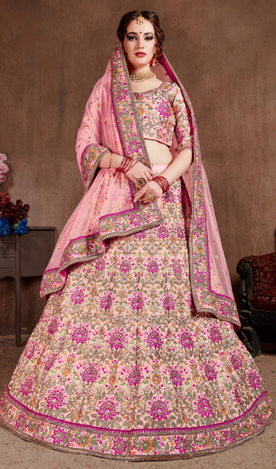 Pink Color, Embroidered Silk Lehenga Choli
