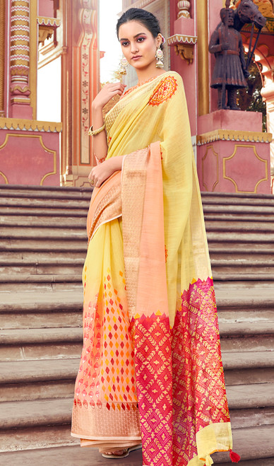Yellow Color Shaded Cotton Printed Sari
