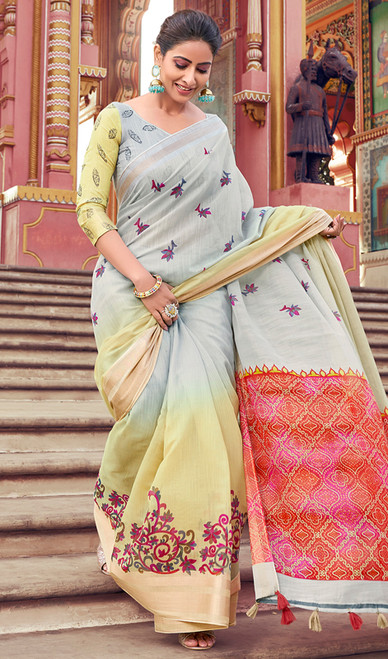 Multicolor Shaded Cotton Printed Sari