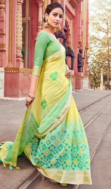 Yellow and Green Color Cotton Printed Sari