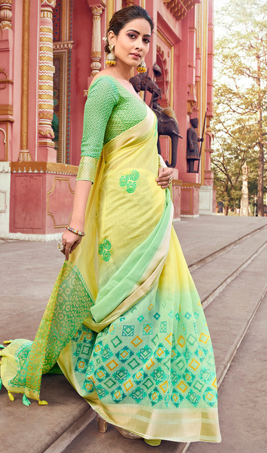 Yellow and Green Color Cotton Printed Sari
