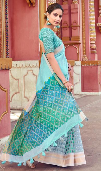 Sky Blue Color Shaded Cotton Printed Sari