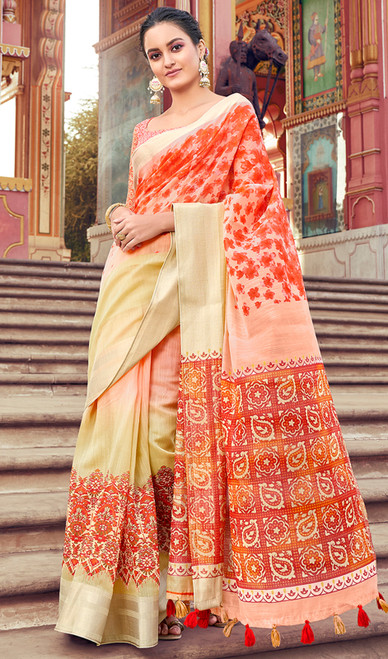 Beige Color Shaded Cotton Printed Sari