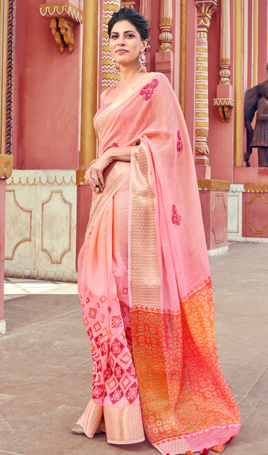 Peach Color Shaded Cotton Printed Sari
