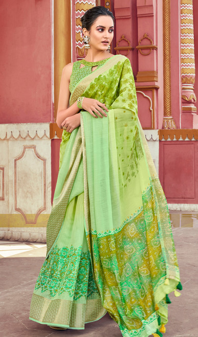 Printed Sari, Cotton Fabric in Green Color Shaded
