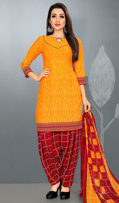 Yellow Color Shaded Crepe Patiala Suit