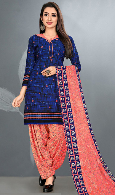 Navy Blue Color Crepe Punjabi Suit