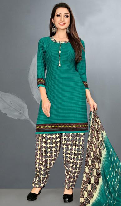Green Color Crepe Punjabi Dress