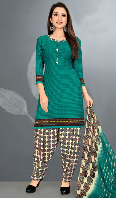 Green Color Crepe Punjabi Dress