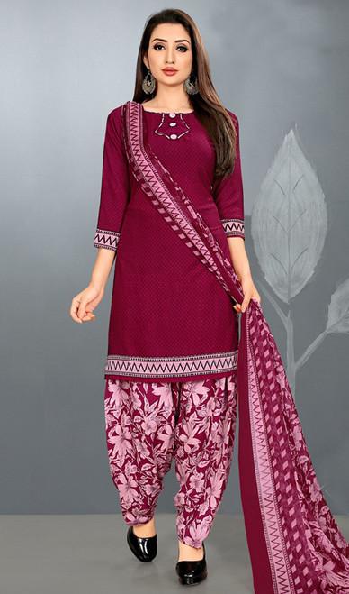 Patiala Suit in Maroon Color Crepe