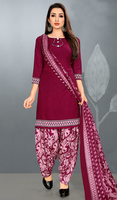 Patiala Suit in Maroon Color Crepe