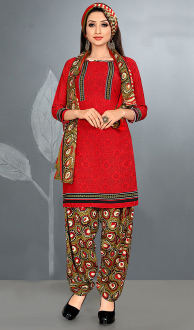 Punjabi Suit in Red Color Shaded Crepe