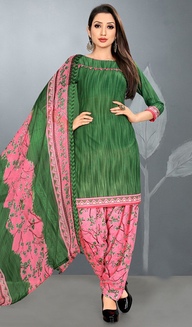 Punjabi Dress in Green Color Shaded Crepe
