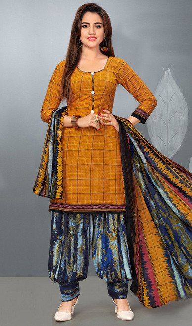 Brown Color Shaded Crepe Patiala Suit