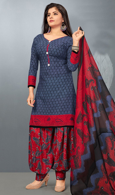 Gray Color Shaded Crepe Punjabi Dress