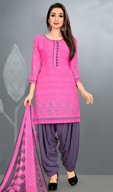 Punjabi Suit, Crepe Fabric in Pink Color Shaded