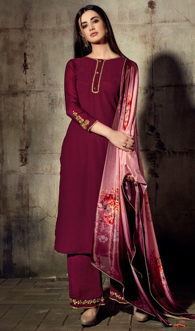 Maroon Color Shaded Georgette Palazzo Suit
