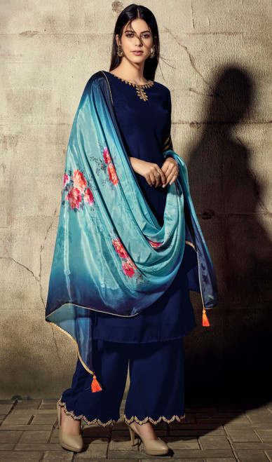 Royal Blue Color Shaded Georgette Palazzo Dress
