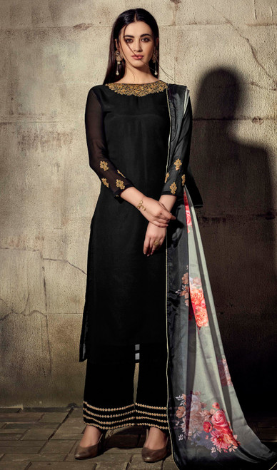 Black Color Georgette Palazzo Suit