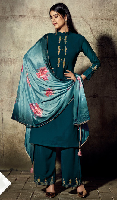 Georgette Teal Blue Color Shaded Palazzo Dress