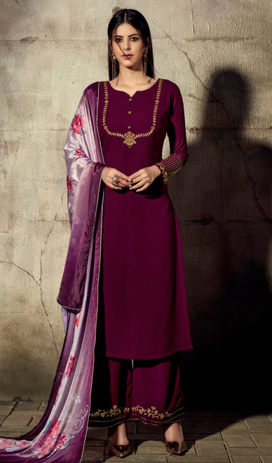 Palazzo Dress in Violet Color Shaded Georgette