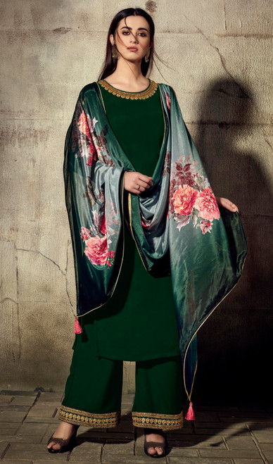 Palazzo Suit, Georgette Fabric in Green Color Shaded