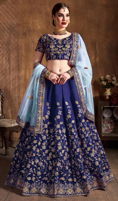 Navy Blue Color Embroidered Raw Silk Lehenga Choli
