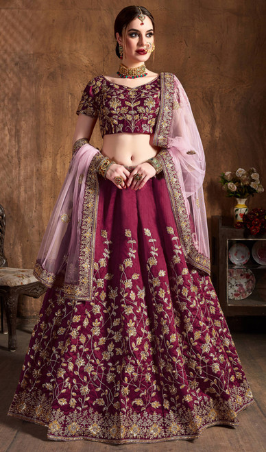 Maroon Color Raw Silk Embroidered Choli Skirt
