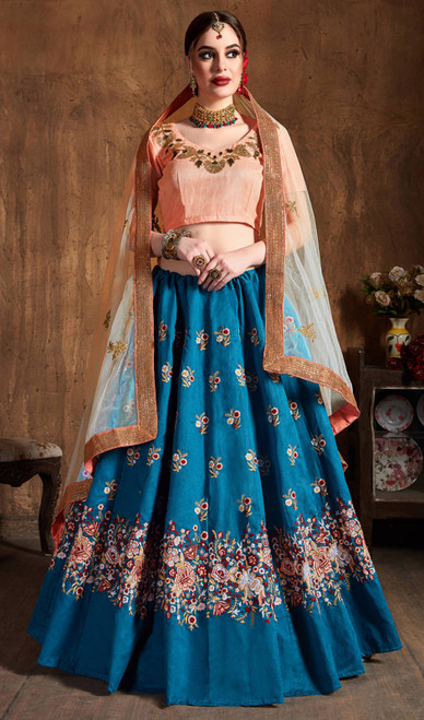 Teal Blue Color Embroidered Raw Silk Lahenga Choli