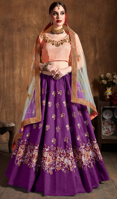 Purple Color Raw Silk Embroidered Lehenga Cholie