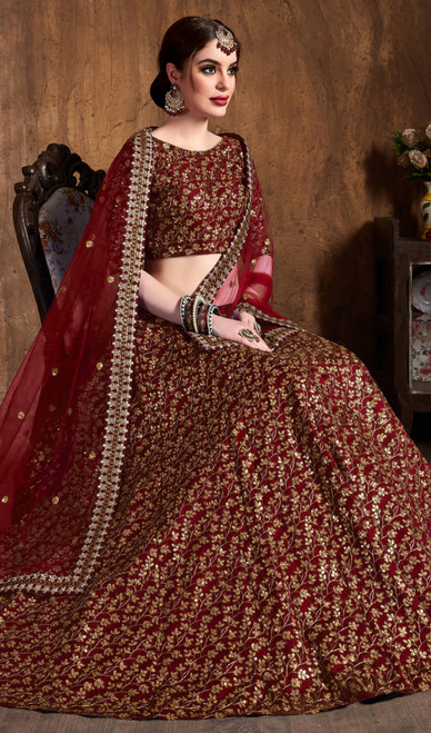 Maroon Color Raw Silk Embroidered Lahenga Cholie