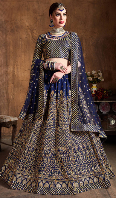 Choli Skirt, Raw Silk Fabric in Navy Blue Color Shaded