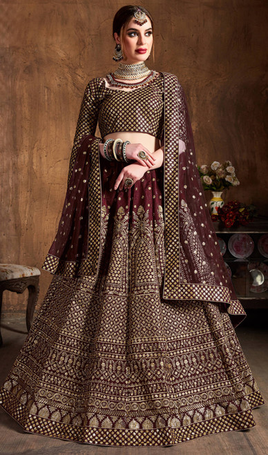 Lehenga Choli in Maroon Color Embroidered Raw Silk