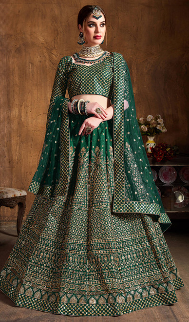 Green Color Embroidered Raw Silk Lehenga Choli