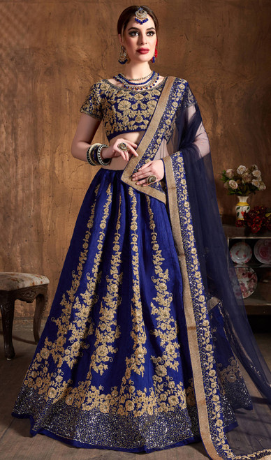 Blue Color Raw Silk Embroidered Choli Skirt