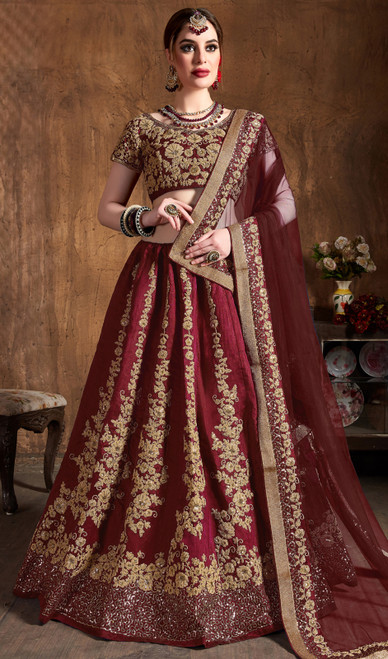 Maroon Color Embroidered Raw Silk Lahenga Choli