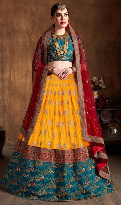 Lahenga Choli in Yellow Color Embroidered Banarasi Silk