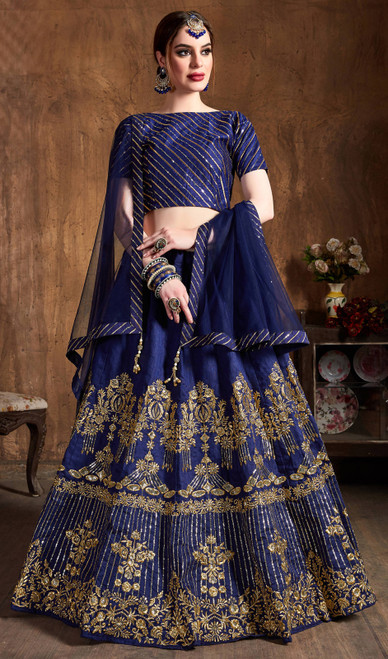 Navy Blue Color Embroidered Art Silk Lehenga Choli