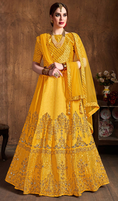 Yellow Color Embroidered Art Silk Lahenga Choli
