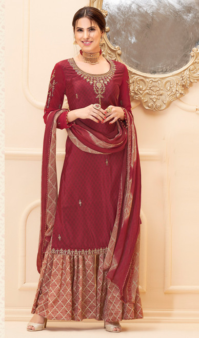 Maroon Color Crepe Palazzo Suit
