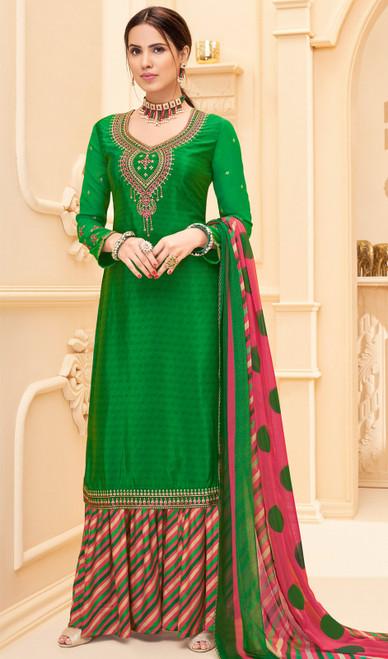 Green Color Shaded Crepe Palazzo Dress
