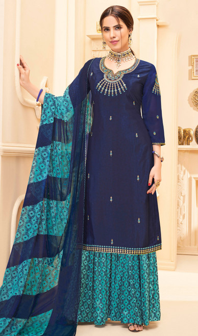 Palazzo Dress in Navy Blue Color Crepe