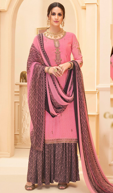 Palazzo Suit in Pink Color Shaded Crepe
