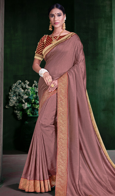 Embroidered Pink Color Silk Sari